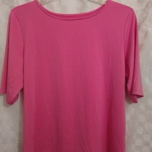 Women's Pink 3/4 Sleeve Stretchy Top- Size Large